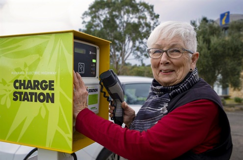 Electric vehicle owners can charge up at the McLaren Vale and Fleurieu Visitor Information Centre, one of the council's green hubs.