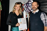 City of Onkaparinga Contemporary Curator Award recipient Steph Cibich with Jason Haskett, Team Leader Arts and Events.