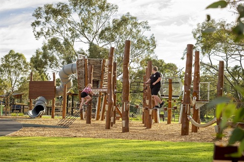 Kids enjoying the new Wilfred Taylor Reserve nature playspace.